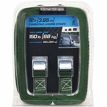 SmartStraps 12 in. Green Light-Duty Lashing Strap, 150 lb., Pack of 2