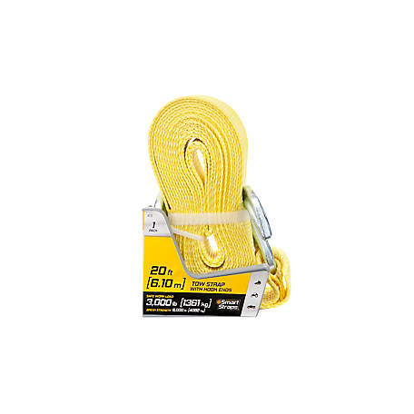 SmartStraps Tow Strap with Hook Ends, 20 ft., 9,000 lb.