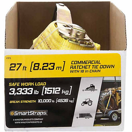 SmartStraps 2 in. x 27 ft. Yellow Ratchet with 18 in. Chain, 3333 lb.