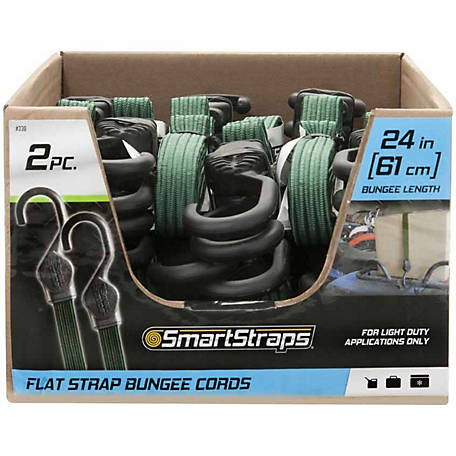 SmartStraps 24 in. Green Flat Strap Bungee, Pack of 2