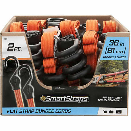 SmartStraps 36 in. Orange Flat Strap Bungee, Pack of 2