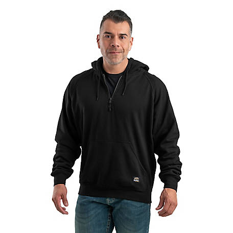 Berne Men's Thermal-Lined Quarter-Zip Front Hooded Sweatshirt