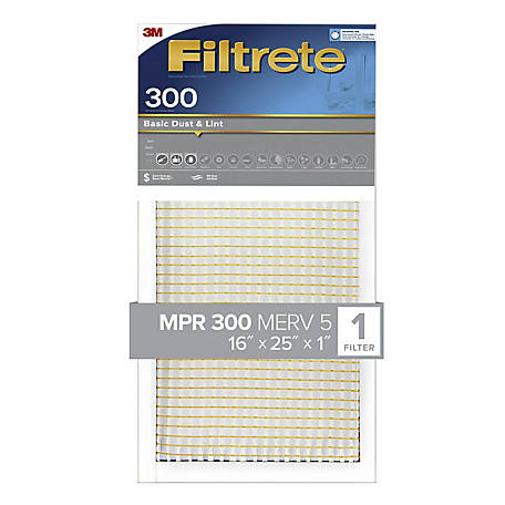 3M Filtrete Basic Dust Filter, 16 in. x 25 in. x 1 in.