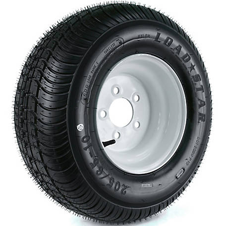 Kenda Loadstar Trailer Tire and 5-Hole Wheel (5/4.5), 205/65-10 (20.5X850-10) LRC