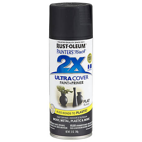 Rust-Oleum Rust-Oleum Painter's Touch 2X Ultra Cover Spray Paint, Flat, Black, 12 oz., 249127