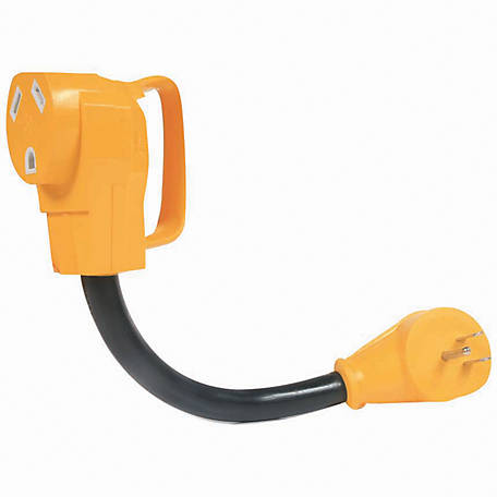 Camco 15M/30F AMP 12 in. PowerGrip Dogbone Adapter with Handles