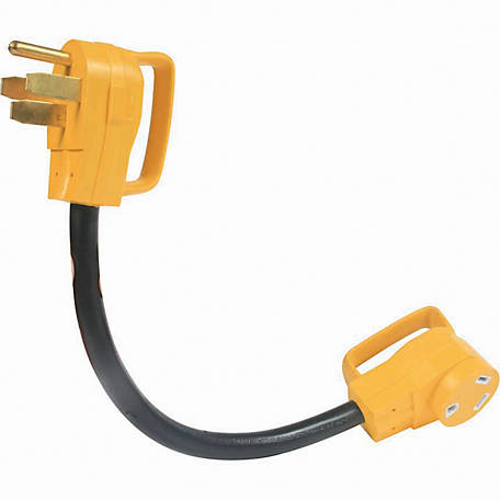 Camco 50M/30F AMP 18 in. Dogbone Adapter with PowerGrip Handles