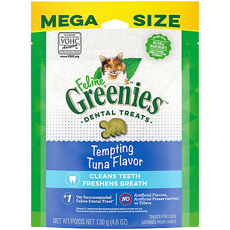 Greenies Feline Adult Dental Cat Treats, Tempting Tuna Flavor, 4.6 oz. Pouch