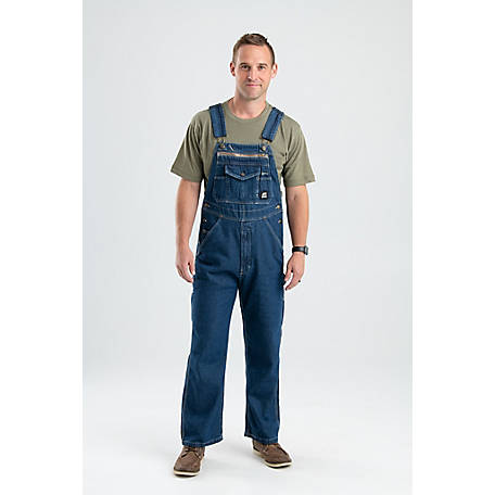 Berne Men's Stone Wash Dark Denim Unlined Bib Overall