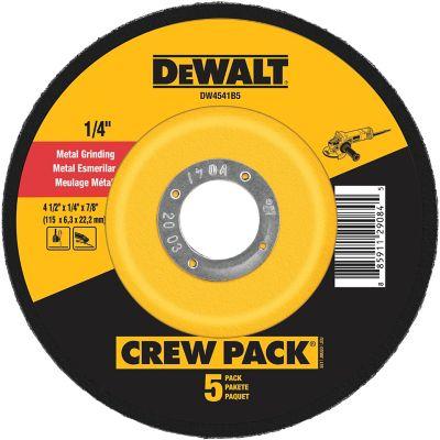 DeWALT 4-1/2 in. x 1/4 in. x 7/8 in. Metal & Stainless Fast Grinding Wheel; Pack of 5