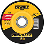 DeWALT 4-1/2 in. x 1/4 in. x 7/8 in. Metal & Stainless Fast Grinding Wheel, Pack of 5