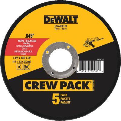 DeWALT 4-1/2 in. x .045 in. x 7/8 in. Metal & Stainless Cutting Wheel; Pack of 5