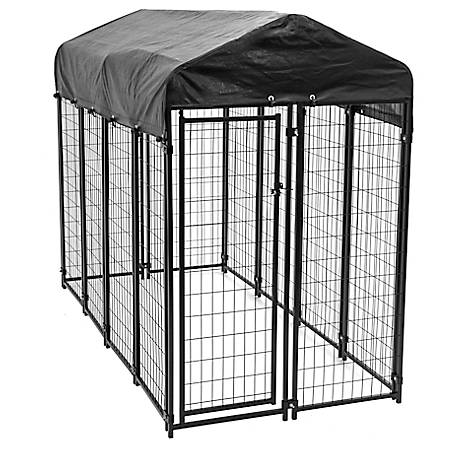 Lucky Dog 6 ft. x 4 ft. x 8 ft. Uptown Welded Wire Kennel with Cover and Frame, CL 60548