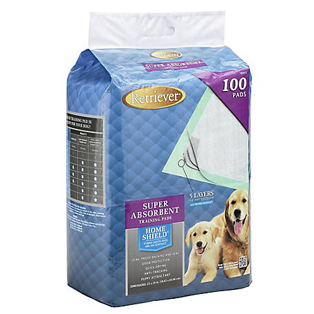Retriever Super Absorbent Pet Training Pads with Home Shield, Pack of 100, P-100PK