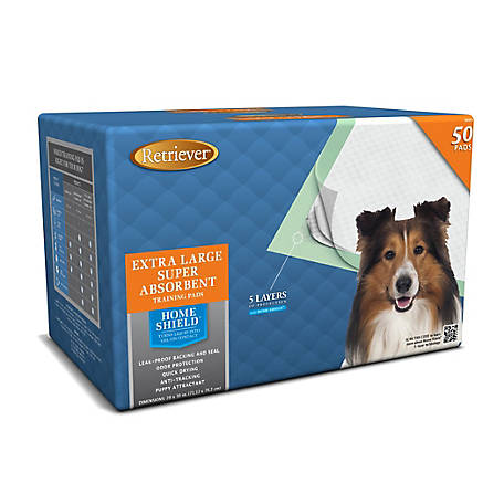 Retriever Extra Large Super Absorbent Pet Training Pads with Home Shield, Pack of 50, L-50PK