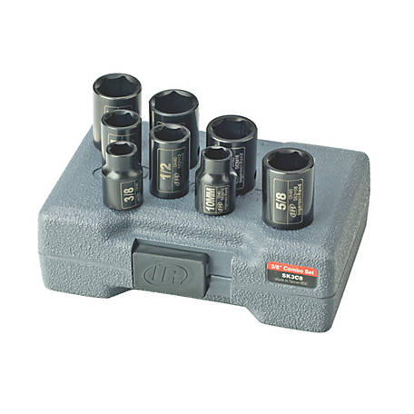 Ingersoll Rand 8 Piece Metric/SAE Combo Impact Socket Set, 3/8 in.