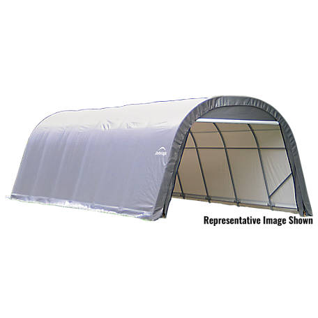 ShelterLogic Round Style Shelter, Gray, 12 ft. x 24 ft. x 8 ft., 72332