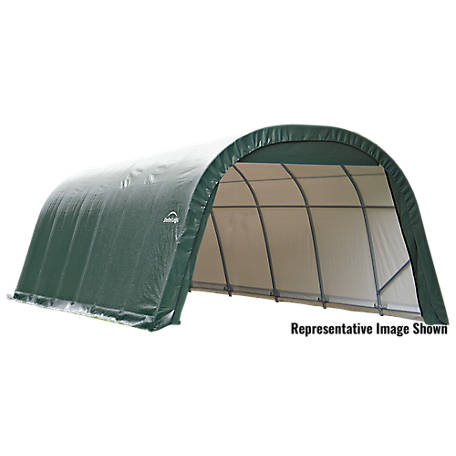 ShelterLogic Round Style Shelter, Green, 12 ft. x 24 ft. x 8 ft., 72342