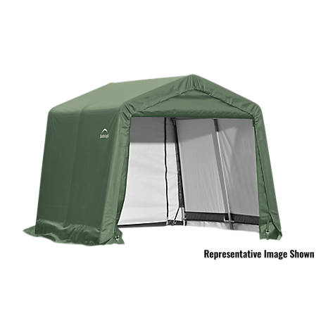 ShelterLogic Peak Style Shelter, Green, 10 ft. x 8 ft. x 8 ft.