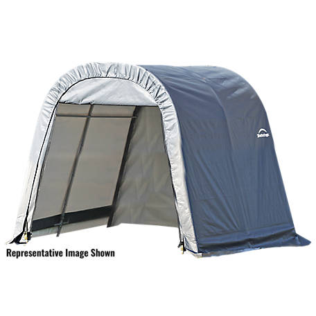 ShelterLogic Round Style Shelter, Gray, 11 ft. x 8 ft. x 10 ft., 77819