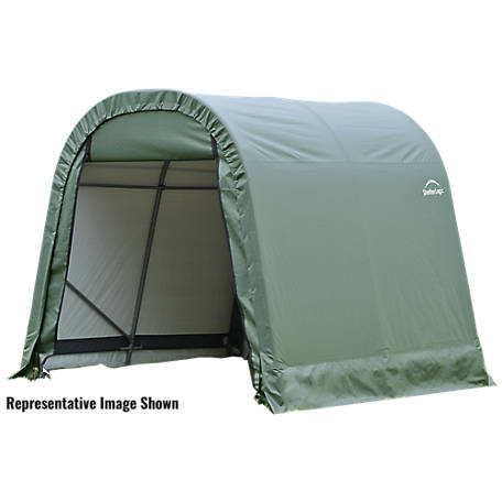 ShelterLogic Round Style Shelter, Green, 11 ft. x 8 ft. x 10 ft., 77822