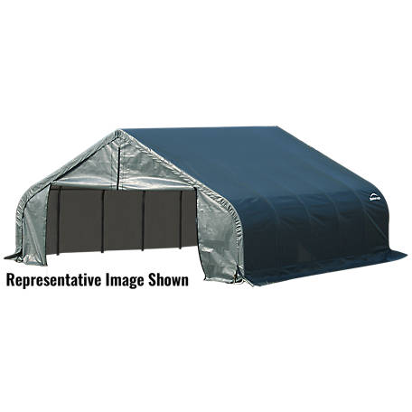 ShelterLogic Peak Style Shelter, Green, 18 ft. x 28 ft. x 11 ft.