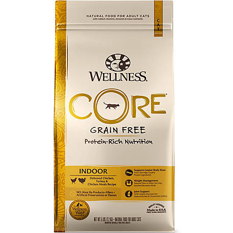 Wellness CORE Natural Grain-Free Chicken & Turkey Dry Indoor Cat Food, 5 lb.