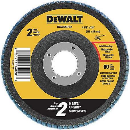 DeWALT 4-1/2 ft. x 7/8 in. 60 Grit T29 Flap Discs, Pack of 2