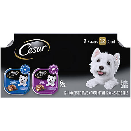 Cesar Savory Delights Variety Pack Rotisserie Chicken & Filet Mignon Dog Food, Pack of 12