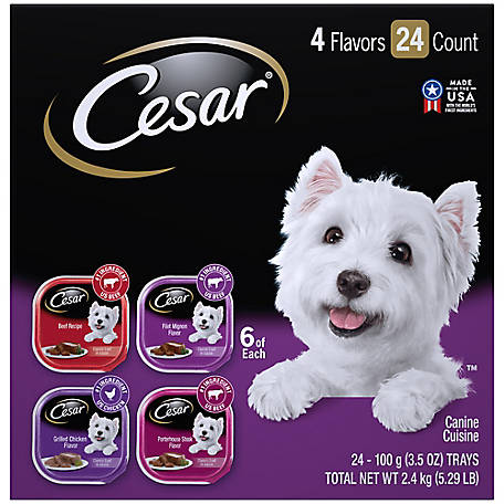 Cesar Canine Cuisine Club Variety Pack Dog Food Trays, 3.5 oz., Pack of 24