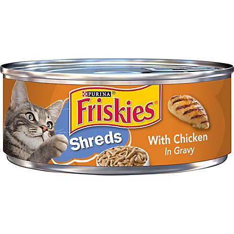Purina Friskies Gravy Wet Cat Food, Shreds with Chicken, 5.5 oz. Can
