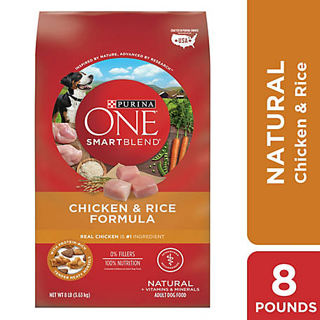 Purina One SmartBlend Chicken & Rice Formula Adult Premium Dog Food, 8 lb. Bag, 8 LB