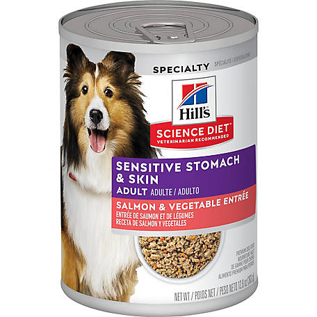 Hill's Science Diet Adult Sensitive Stomach & Skin Salmon & Vegetable Entree Dog Food, 12.8 oz. Can