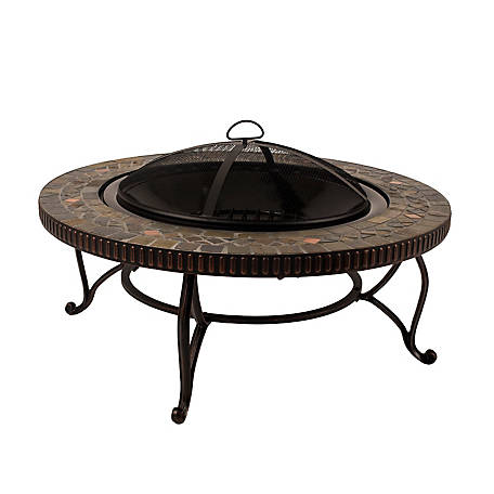 Pleasant Hearth Elizabeth Natural Slate Round Fire Pit with Copper Accents, 34 in.