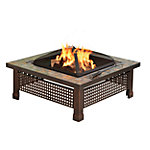 Pleasant Hearth Bradford Natural Slate Square Fire Pit with Copper Accents, 34 in.
