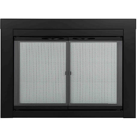 Pleasant Hearth Cabinet Style Fireplace Glass Door, Alpine, Black, Small