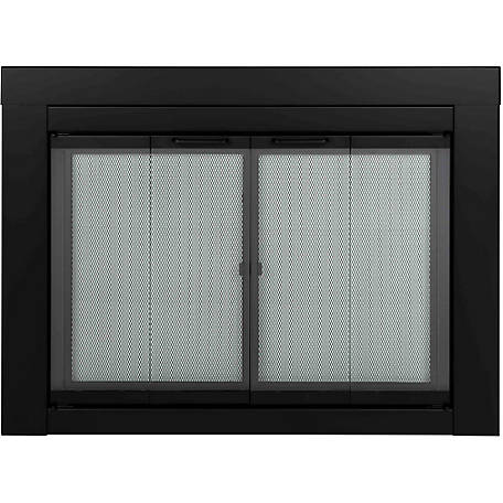 Pleasant Hearth Fireplace Glass Door Bi-fold Style Fireplace Glass Door, Ascot, Black, Large