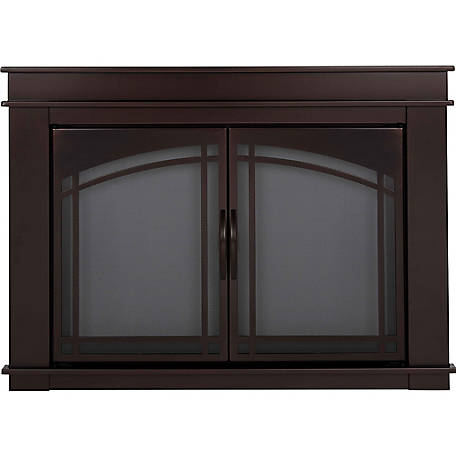 Pleasant Hearth Cabinet Style Fireplace Glass Door, Fenwick, Rubbed Bronze, Small