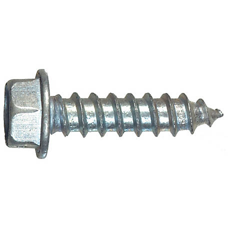 Hillman Slotted Hex Washer Head Sheet Metal Screw, #12 x 1 in.
