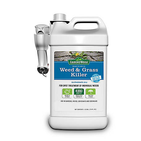 GroundWork Weed & Grass Killer, Ready To Use Spray, 2% Glyphosate, 1.33 gal., 9511337