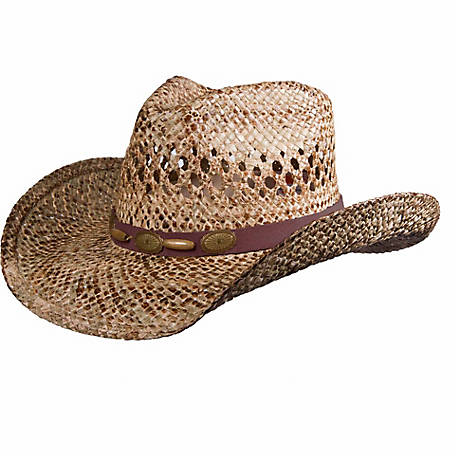 DPC Vented Stained Seagrass Western Hat with Suede Trim with Metal Conchos and Beads