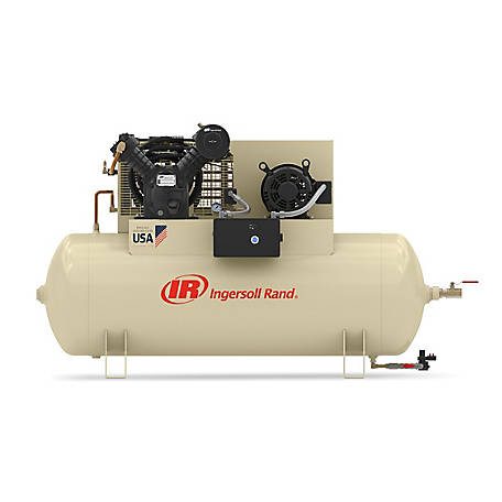 Ingersoll Rand 2545E10-VP Value Plus 200V-3Ph 2-Stage Air Compressor, 120 gal. Horizontal
