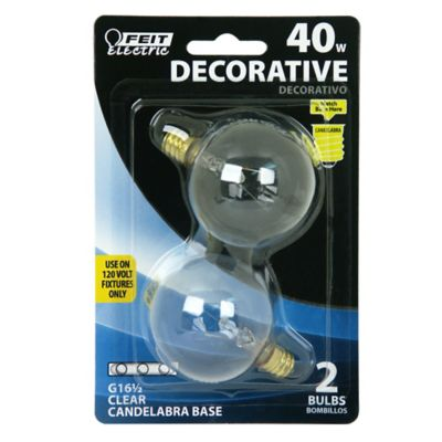 Buy Feit Electric 40 watt Incandescent G161/2 Clear Globe Bulb; Pack of 2 Online