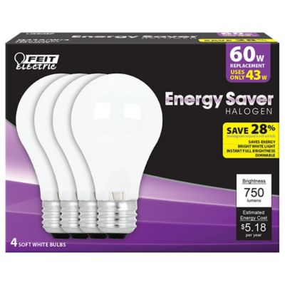 Buy Feit Electric 43 watt Soft White Energy Saving Halogen A19 Bulb; 60 watt Equivalent; Pack of 4 Online