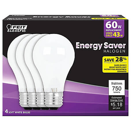 Feit Electric 43 watt Soft White Energy Saving Halogen A19 Bulb, 60 watt Equivalent, Pack of 4, Q43A/W/4/RP