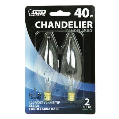Buy Feit Electric 40 watt Incandescent Chandelier Clear Flame Tip Bulb; Candelabra Base Online