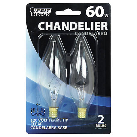 Feit Electric 60 watt Incandescent Chandelier Clear Flame Tip Bulb, Candelabra Base, BP60CFC
