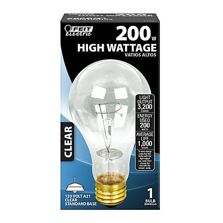 Feit Electric 200 watt Clear Incandescent Bulb, A21, 200A/CL