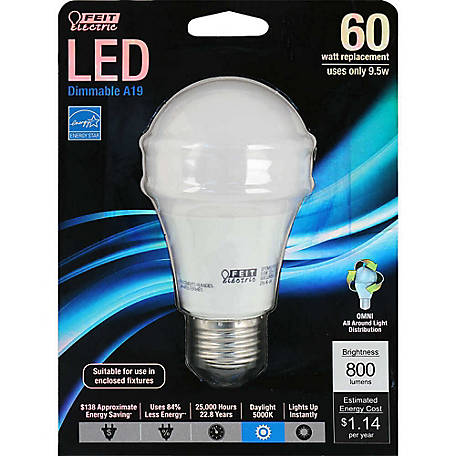 Feit Electric 9-3/4 watt LED General Purpose 60 watt Equivalent Natural Daylight Dimmable Bulb