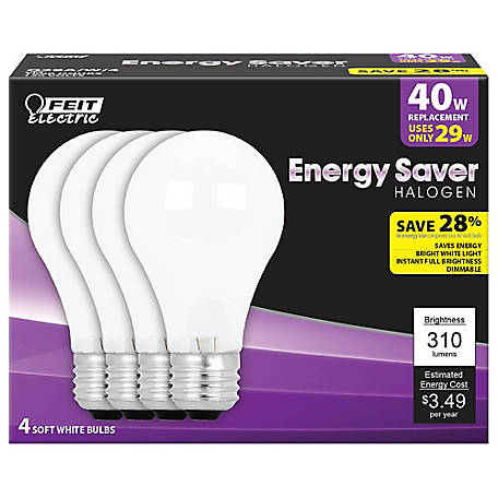 Feit Electric 29 watt Soft White Energy Saving Halogen Bulb, A19, 40 watt Equivalent, Pack of 4, Q29A/W/4/RP
